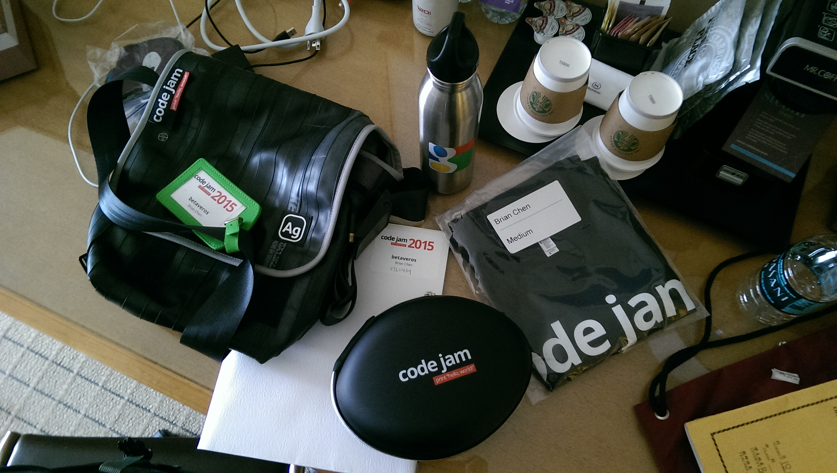 [Assorted goods from Google goodie bag]