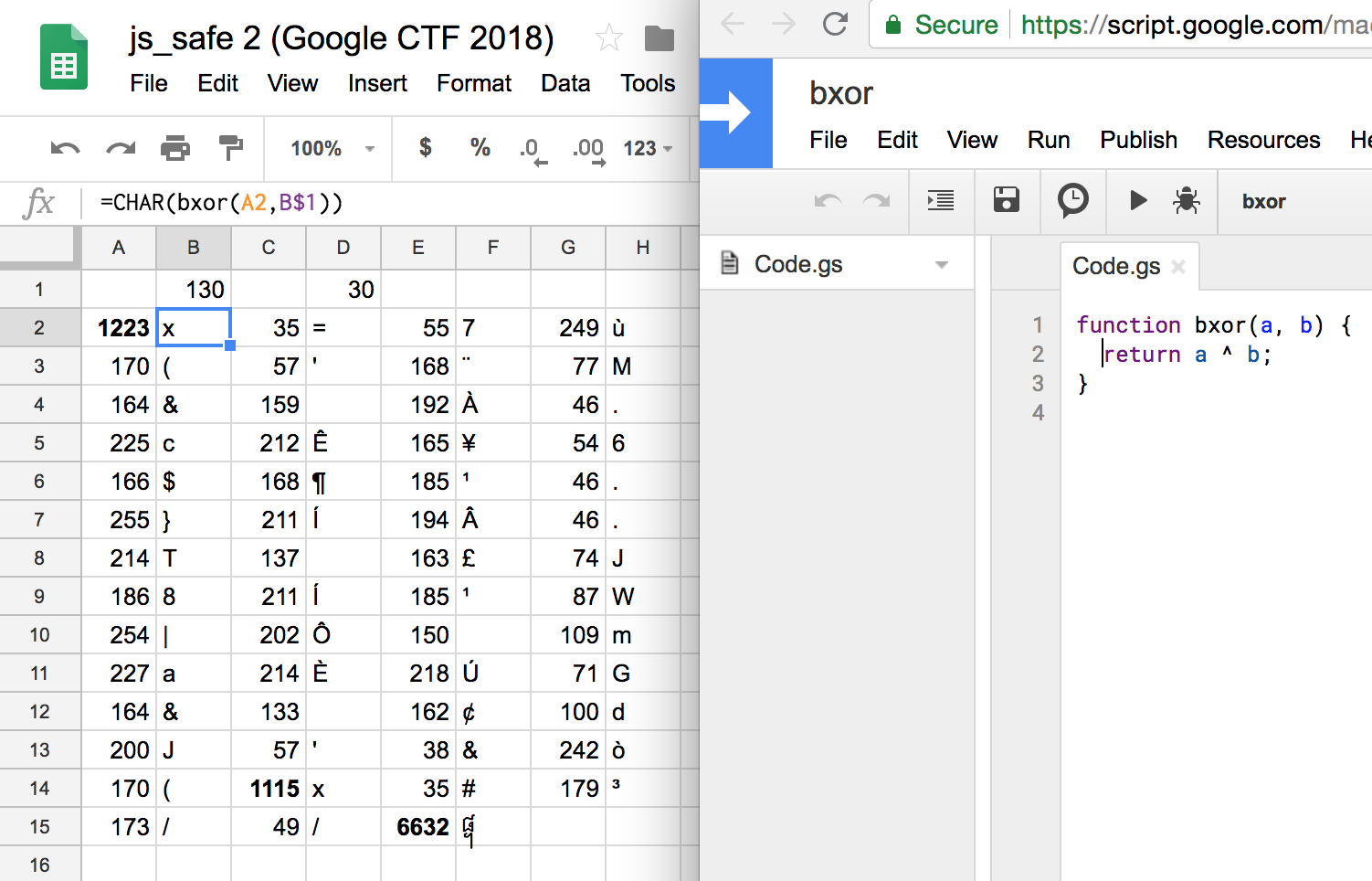 Xoring numbers in Google Sheets