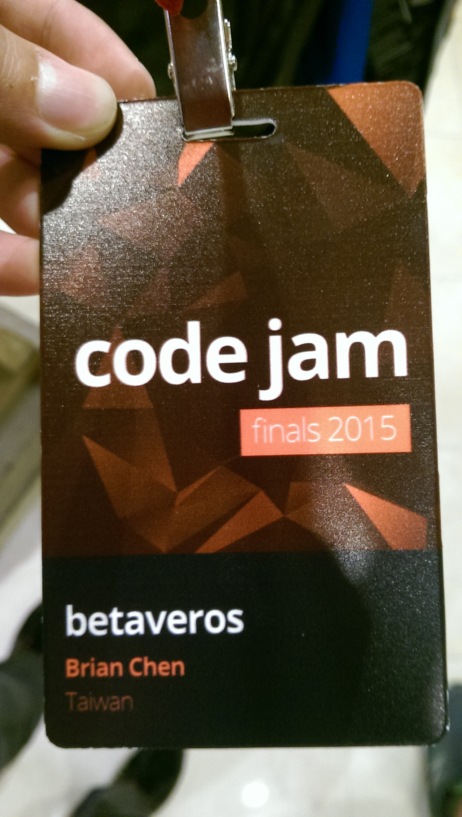 [Google Code Jam 2015 name tag with my name and handle and country]
