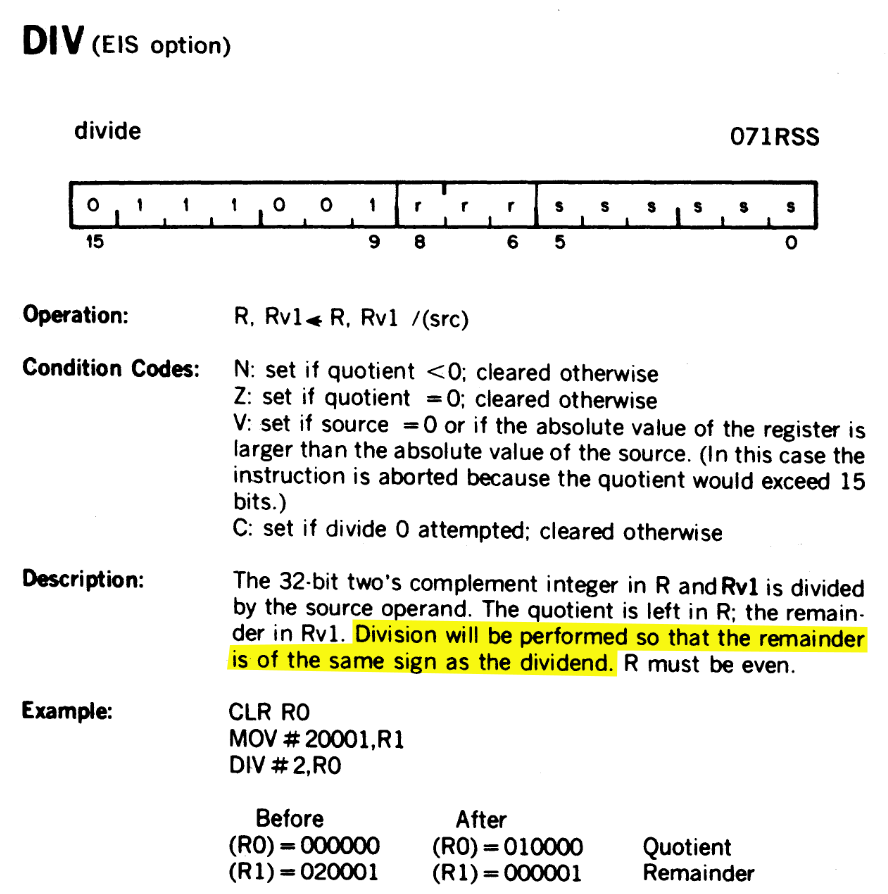 Page 4-32 of the PDP-11 manual, excerpted below